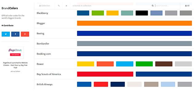 Els colors de les marques a BrandColors