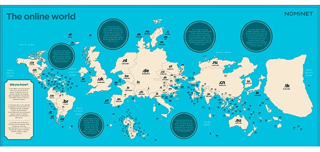 El mapa del món segons el número de registres de dominis de cada país