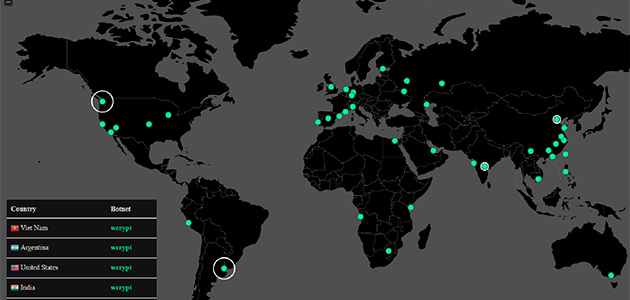 Mapa dels atacs de Wannacry en temps real